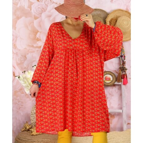 Robe tunique bohème grande taille WINDY Rouge-Robe tunique femme grande taille-CHARLESELIE94
