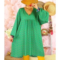 Robe tunique bohème grande taille WINDY Vert-Robe tunique femme grande taille-CHARLESELIE94