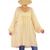 Robe tunique bohème grande taille WINDY Beige