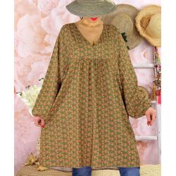 Robe tunique bohème grande taille WINDY Kaki