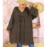 Robe tunique bohème grande taille WINDY Noire