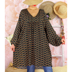 Robe tunique bohème grande taille WINDY Noire-Robe tunique femme grande taille-CHARLESELIE94