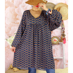 Robe tunique bohème grande taille WINDY Bleu marine-Robe tunique femme grande taille-CHARLESELIE94