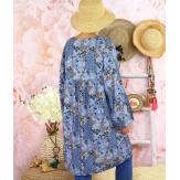 Robe tunique bohème grande taille SIERRA Bleu