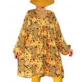 Robe tunique bohème grande taille SIERRA Jaune-Robe tunique femme grande taille-CHARLESELIE94