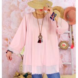 Tunique femme grande taille + collier OPHELIA rose