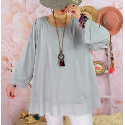 Tunique femme grande taille + collier OPHELIA gris