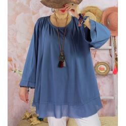 Tunique femme grande taille + collier OPHELIA bleu