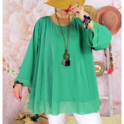 Tunique femme grande taille + collier OPHELIA vert