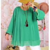 Tunique femme grande taille + collier OPHELIA vert-Tunique femme grande taille-CHARLESELIE94