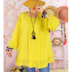 Tunique femme grande taille + collier OPHELIA jaune