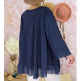 Tunique femme grande taille + collier OPHELIA bleu marine