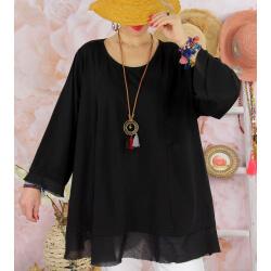 Tunique femme grande taille + collier OPHELIA noir