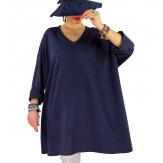 Tunique longue grande taille étoile FUNKY Bleu marine-Tunique femme grande taille-CHARLESELIE94
