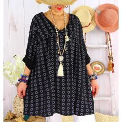 Tunique longue grande taille tencel NEA Noir-Tunique femme grande taille-CHARLESELIE94