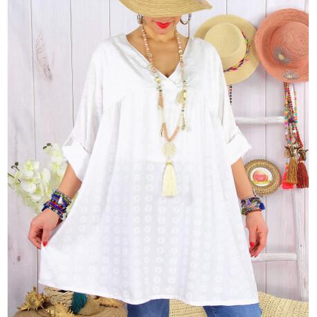 Tunique longue grande taille tencel NEA Blanc-Tunique femme grande taille-CHARLESELIE94