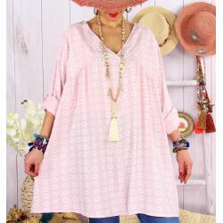 Tunique longue grande taille tencel NEA Rose-Tunique femme grande taille-CHARLESELIE94