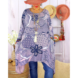 Tunique longue grande taille tencel LISETTE Rose-Tunique femme grande taille-CHARLESELIE94