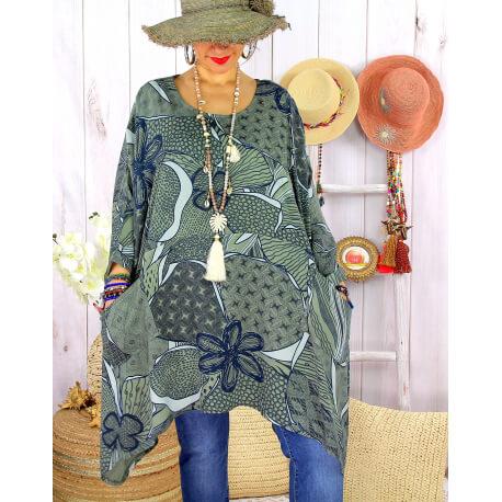 Tunique longue grande taille tencel LISETTE Kaki-Tunique femme grande taille-CHARLESELIE94