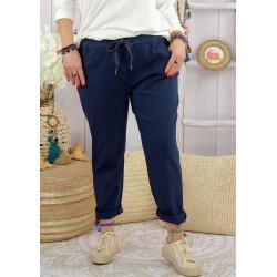 Pantalon femme grande taille stretch LIPA Bleu marine Pantalon femme grande taille