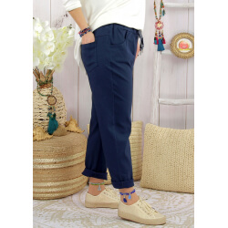 Pantalon femme grande taille stretch LIPA Bleu marine-Pantalon femme grande taille-CHARLESELIE94