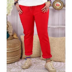 Pantalon femme grande taille stretch LIPA Rouge Pantalon femme grande taille