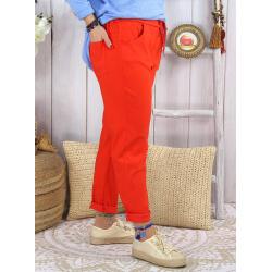Pantalon femme grande taille strech LIPA Corail