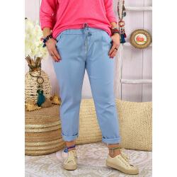 Pantalon femme grande taille stretch LIPA Bleu ciel Pantalon femme grande taille