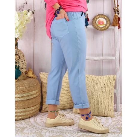 Pantalon femme grande taille stretch LIPA Bleu ciel-Pantalon femme grande taille-CHARLESELIE94