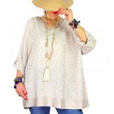 Tunique grande taille satin tencel GOTTA Beige-Tunique femme grande taille-CHARLESELIE94