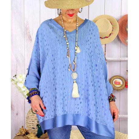 Tunique grande taille satin tencel GOTTA Bleu jean-Tunique femme grande taille-CHARLESELIE94