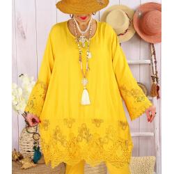 Tunique longue grande taille dentelle JORDAN Jaune-Robe tunique femme grande taille-CHARLESELIE94