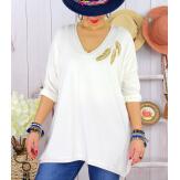 Tunique pull grande taille printemps MANERA Blanc-Pull tunique femme-CHARLESELIE94
