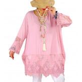 Tunique longue grande taille dentelle JORDAN Rose-Robe tunique femme grande taille-CHARLESELIE94