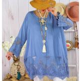 Tunique longue grande taille dentelle JORDAN Bleu jean-Robe tunique femme grande taille-CHARLESELIE94