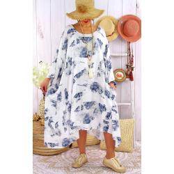 Robe grande taille été tencel graphique FOLK Blanche-Robe tunique femme grande taille-CHARLESELIE94