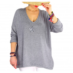 Tunique pull grande taille printemps TAURUS Gris-Pull femme grande taille-CHARLESELIE94