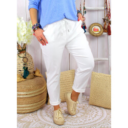 Pantalon femme grande taille stretch LIPA Blanc Pantalon femme grande taille