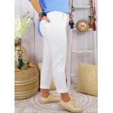 Pantalon été femme grande taille stretch LIPA Blanc Pantalon femme grande taille