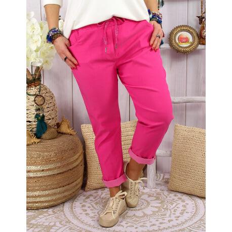 Pantalon femme grande taille stretch LIPA Fushia-Pantalon femme grande taille-CHARLESELIE94