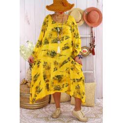 Robe grande taille été tencel graphique FOLK Jaune-Robe tunique femme grande taille-CHARLESELIE94
