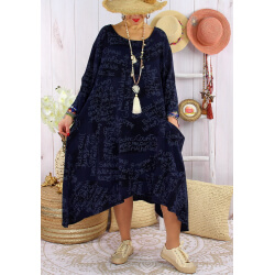 Robe grande taille été tencel graphique FOLK Marine-Robe tunique femme grande taille-CHARLESELIE94