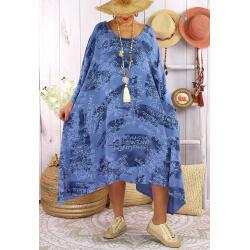 Robe grande taille été tencel graphique FOLK Bleu jean-Robe tunique femme grande taille-CHARLESELIE94