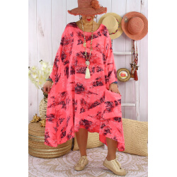 Robe grande taille été tencel graphique FOLK Corail-Robe tunique femme grande taille-CHARLESELIE94