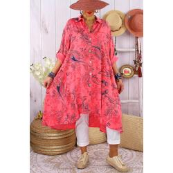 Robe chemise grandes tailles imprimée AMORE Corail