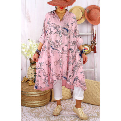 Robe chemise grandes tailles imprimée AMORE Rose-Chemise longue femme-CHARLESELIE94