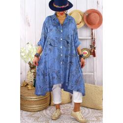 Robe chemise grandes tailles imprimée AMORE Bleu jean