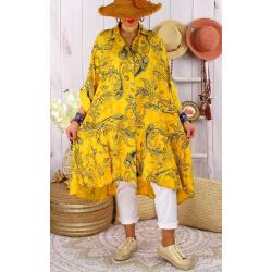 Robe chemise grandes tailles imprimée AMORE Jaune-Chemise longue femme-CHARLESELIE94
