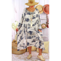 Robe grande taille été tencel graphique FOLK Beige-Robe grande taille-CHARLESELIE94