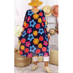 Robe tunique grandes tailles mousseline CAPITO Marine-Robe tunique femme grande taille-CHARLESELIE94